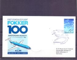 Nederland - First Scheduled Flight Fokker 100 Amsterdam-Munich - KLM - 26/3/1989 (RM13025) - Avions