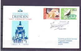 Nederland - KLM - First Scheduled Flight Amsterdam  - Dresden - 4/7/1990  (RM13030) - Avions