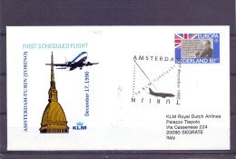Nederland - KLM - First Scheduled Flight Amsterdam  - Turin - 17/12/1990  (RM13036) - Avions