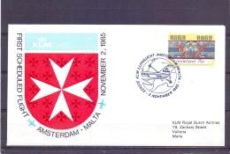 Nederland - KLM  - First Scheduled Flight Amsterdam  - Malta - 2/11/1985  (RM13039) - Avions