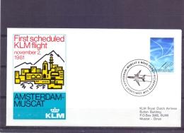 Nederland - KLM First Scheduled Flight Amsterdam - Muscat 2/11/1981  (RM13058) - Avions