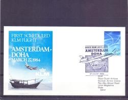 Nederland - KLM First Scheduled Flight Amsterdam - Doha 27/3/1984  (RM13061) - Avions