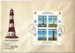 ARGENTINA 1992 FAROS ARGENTINOS  LIGHTHOUSES FDC COVER WITH MINI SHEET OF FOUR - FDC