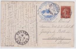 CP - N°138 OBL. AMB. : MONT-CENIS A MACON + Cachet MINstre De La GUERRE = Cachet D'arrivée / 1916 - Marcophilie (Lettres)
