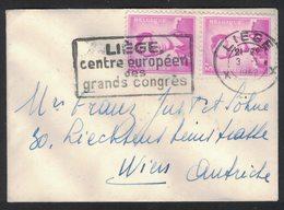 QS154   Brief Van Liege Naar Wien - Nr 1067 Een Paar - 1953-1972 Glasses
