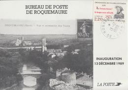 Carte   FRANCE   Inauguration  Bureau  De   Poste   De   ROQUEMAURE   (30)    1989 - Correo Postal
