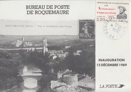 Carte   FRANCE   Inauguration  Bureau  De   Poste   De   ROQUEMAURE   (30)    1989 - Poste
