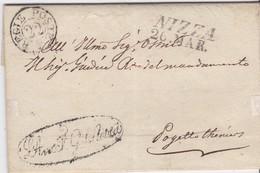 LAC -  NIZZA 23 MARS 1827 + TRESOR ET POSTE + Griffe L'AVOC F GENERALE (ENTREVES) - Marcophilie (Lettres)