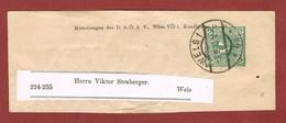 Alpenverein D O A V Ganzsache Streifband   1910;  2 Heller Merkur - Postwaardestukken