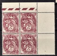 FRANCE 1900 - BLOC DE 4 TP / Y.T. N°108 - NEUFS** COIN DE FEUILLE - Unused Stamps