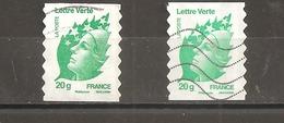 France Oblitéré  2011  Autoadhésif   N° 604  Lettre Verte 20 G  Vert émeraude   ( 2 Exemplaires Avec Nuances ) - 2008-13 Marianne Of Beaujard