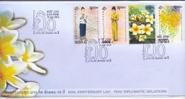 60th Anniversary Lao-Thai Diplomatic Relations  - FDC -  Michel 2198-201-  22/4/2011  (RM13743) - Laos