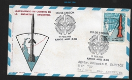"""ARGENTINA 1966 - 1966 Airmail - Rocket Launches In Antarctica DAY OF ISSUE, """"MATIENZO OPERATION"""" REGISTERED VERY RARE ** - Stamps"""
