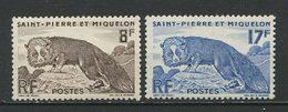 SPM MIQUELON 1952  N° 345/346 ** Neufs MNH Superbes  C 15,60 € Faune Renard Argenté Animaux - St.Pierre Et Miquelon