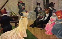 Katzen, Singende Katzendame, Sign. Arthur Thiele, 1926 - Thiele, Arthur