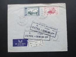 Syrien / UAR 1959 Air Mail / Luftpost Societe De Banques Reunies S.A.S. Einschreiben R No 827 / Arabische Schrift - Syria