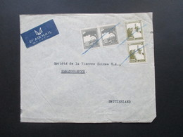 Palästina Palestine Air Mail / Luftpost In Die Schweiz. Marken Mit Blaustift Entwertet! L. Teplitz, Tel Aviv - Palästina