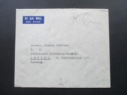 Irak / Iraq 1938 Air Mail / Luftpost Ashar Basra - Apolda August Schroer Fabrik Für Strickkleidung - Irak