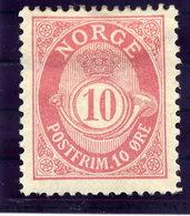 NORWAY 1893 10 Øre Rose Perf. 14½:13½ LHM / *.  Michel 56 Ab - Norway