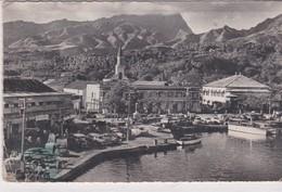 """PS / CPSM 9X14 . TAHITI. Port De Papeete ( En 1960 : Animée) + Pub Aviation : """"La Route De TAHITI"""") - Polynésie Française"""