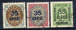 DENMARK 1912 35 Øre Surcharges, Used.  Michel 60-62 - 1905-12 (Frederik VIII)