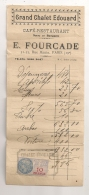 FACTURE DE RESTAURANT GRAND CHALET EDOUARD  PARIS RUE MANIN AVEC TIMBRE FISCAL 10 FRANCS  B85 - Revenue Stamps