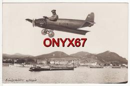 "Carte Postale Photo Montage AVION Fictif ""Junkers"" Königswinter Am Rhein Allemagne (Deutschland) BATEAU-PENICHE - Koenigswinter"