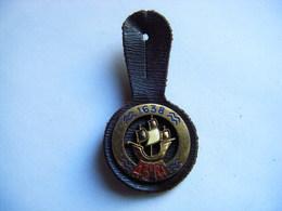 PUCELLE ANCIEN INSIGNE 43 RI 1638 REGIMENT INFANTERIE METAL Doré EMAIL - DELSART N° H 100 - Army & War
