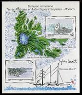"Feuillet** De 2012 Des TAAF Avec 2 Timbres Gommés ""Emission Commune TAAF - MONACO"" - Blocs-feuillets"