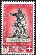 Schweiz Suisse 1940:  Calven 1499 Variante HELLROT ROUGE-CLAIR Zu 5c Mi 366a Yv 351a HÖLSTEIN (BL)?.VI.40 (Zu CHF 50.00) - Suisse