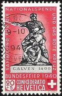 Schweiz Suisse 1940:  Calven 1499 Variante HELLROT ROUGE-CLAIR Zu 5c Mi 366a Yv 351a O BASEL 15.V.1940 (Zu CHF 50.00) - Suisse