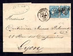 France Bordeaux YT N° 46 En Paire Oblitérée Sur Lettre Entière. A Saisir! - 1870 Bordeaux Printing