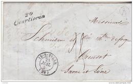 """COTE D'OR - Cursive : 20 / COURTIVRON+ T15 De IS Sur TILLE + Boite Rurale """"A"""" = MOLOY Sur LAC D'un Maître Des Forges. - Marcophilie (Lettres)"""