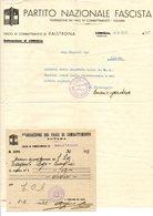"""VER3296 - P.N.F. Lettera Con Ricevuta """" Federazione Fasci Di Combattimento""""  1937 - Documenti Storici"""