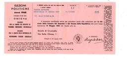 VER3297 - Elezioni Politiche 1968 : Certificato Di Votazione Ripiegato - Documenti Storici