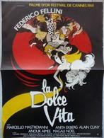 Affiche Film LA DOLCE VITA Federico Fellini Palme D'or Cannes 1960 53 X 39 Cms - Posters