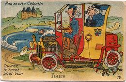 """TOURS - Système Dépliant 9 Vues - Pas Si Vite Céléstin - Ouvrez Le Tacot Pour Voir """"TOURS"""" (1442 ASO) - A Systèmes"""