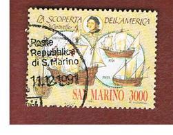 SAN MARINO - UNIF. 1317  - 1991 CELEBRAZIONI COLOMBIANE: LE TRE CARAVELLE          -  USATI (USED°) - San Marino