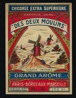 """Ancienne Etiquette Chicorée  Extra Supérieure Des Deux Moulins """"BA"""" 100GrGrand Arôme Pars Bordeaux Marseille - Frutta E Verdura"""