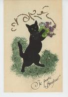 """CHATS - CAT - Jolie Carte Fantaisie Chat En Feutrine Et Fleurs """"JE PORTE BONHEUR """" - Cats"""