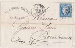 Lettre Briançon 1872 Hautes Alpes Barcelonnette Alpes De Haute Provence Cérès Brun Frères - 1871-1875 Cérès
