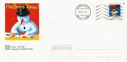 089 - PAP  Meilleurs Voeux  Timbre  Noel  Bonhomme De Neige - Prêts-à-poster:  Autres (1995-...)