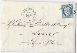 Lettre Avec Cérès N° 60C De Villers Vers Lyon TAD Convoyeur Station Villers-Bretonneux 18/9/1874 - Postmark Collection (Covers)