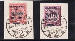 Yougoslavie 1918/19 Cat Yvert N° 6 Et 7 Oblt. TB - Usados