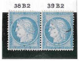 TIMBRES N° 60/1 ;  PAIRE 38/39 B2  ,  BIEN CENTRÉS  ; TTB - 1871-1875 Cérès