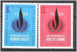 United Nations 1968 International Year Human Rights, Mi 206-207 MNH(**) - New York -  VN Hauptquartier