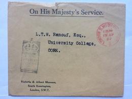 GB - 1932 OHMS Envelope - London To Cork Ireland - Victoria And Albert Museum Cachet - 1902-1951 (Rois)