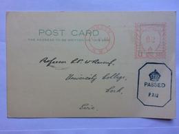 GB - 1941 Postcard - London Meter Mark To Professor Renouf University College Cork With Censor Mark - 1902-1951 (Re)