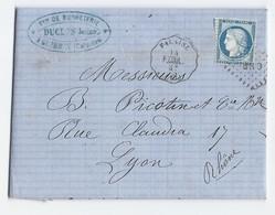 Lac Avec Cérès 60 C Du 14/10/1874 De Guybray Vers Lyon TAD Convoyeur Station Falaise - 1849-1876: Classic Period