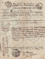Departement De Genes - Extrait Acte Civil - Timbre A L Extraordinaire - 1813 - Mairie De Genes - Departement Conquis - Italy